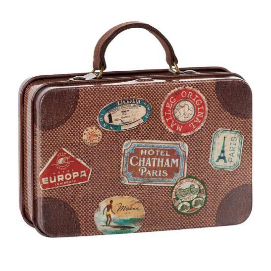 Metalowa brązowa walizeczka podróżna