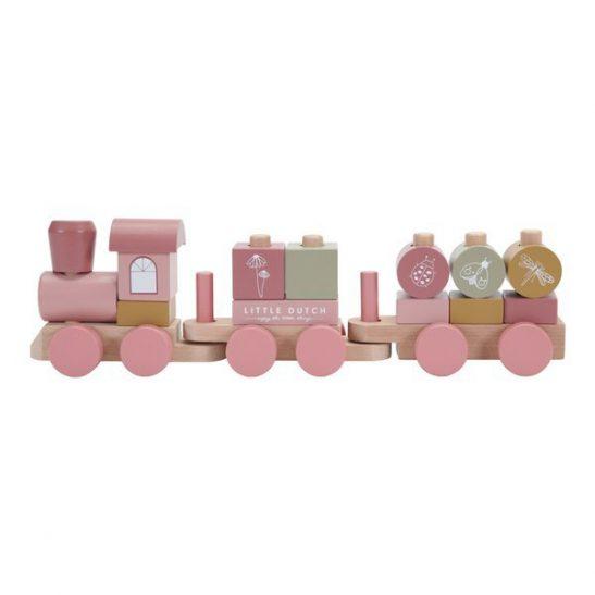 drewniany różowy pociąg Little Dutch