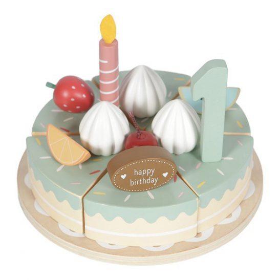 drewniany torcik urodzinowy