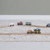 zestaw 9 drewnianych pojazdów