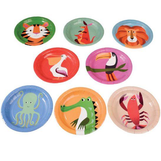 Talerzyki papierowe Kolorowe Zwierzaki